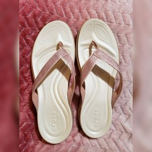 Pink and White FlipFlops 11 Crocs NWOT